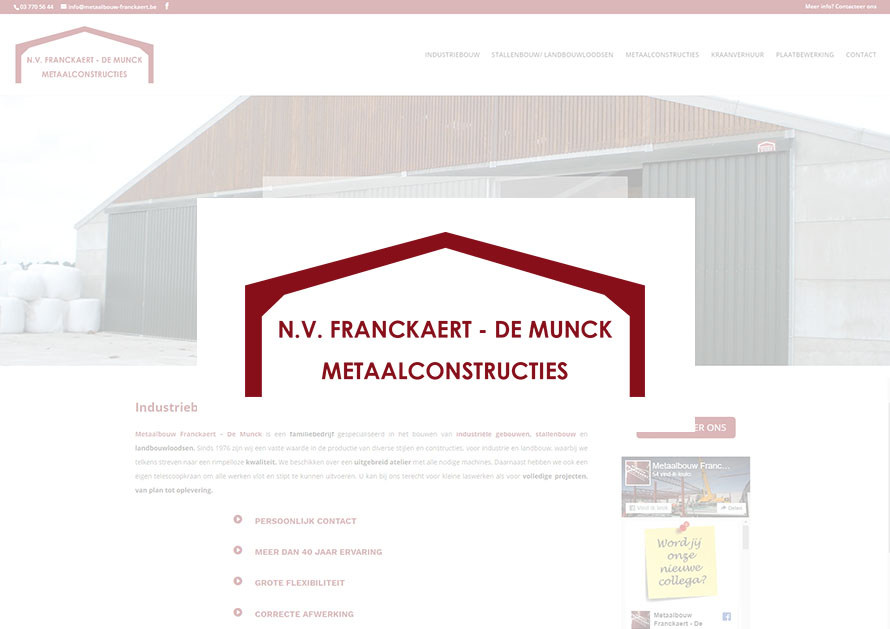 Metaalbouw Franckaert- webdesign creatiefonline Kortrijk